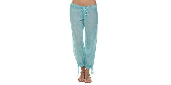 Dámské tyrkysové kalhoty s mašličkami Kool