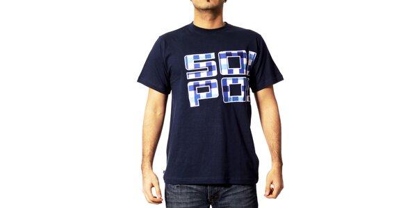 Pánské tmavě modré tričko Southpole s kostkami