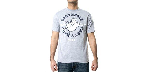 Pánské šedé melírované tričko Southpole s kostkami