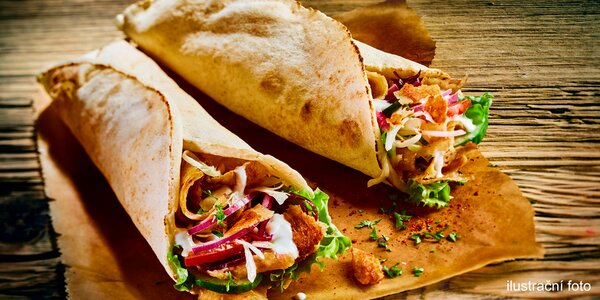 Kebab podle výběru a nápoje pro 2 osoby
