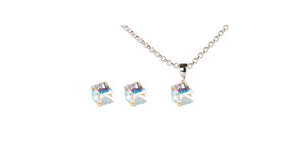 Dámský set kubických náušnic a řetízku s krystaly Swarovski Destellos