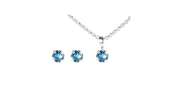Dámský modrý set náušnic a řetízku s krystaly Swarovski Destellos