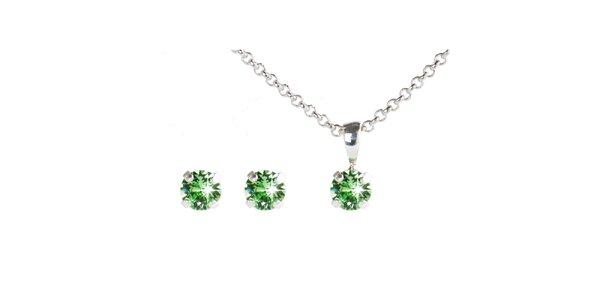 Dámský zelený set náušnic a řetízku s krystaly Swarovski Destellos