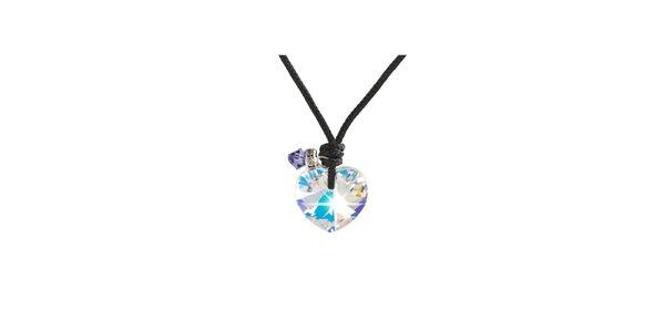 Dámský náhrdelník srdíčko s fialovým krystalem Destellos