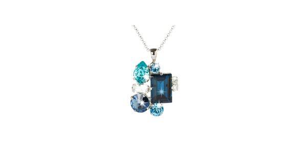 Dámský stříbrný náhrdelník s modrými Swarovski krystaly Destellos