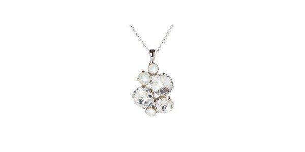 Dámský stříbrný náhrdelník s průhlednými Swarovski krystaly Destellos