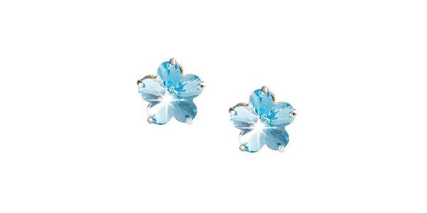 Dámské modré náušnice ve tvaru květin Destellos