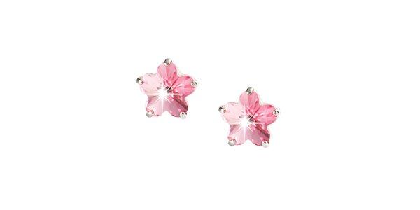 Dámské růžové náušnice ve tvaru květin Destellos