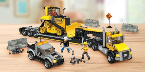 Stavebnice Mega Bloks: Tahač, buldozer a pick-up