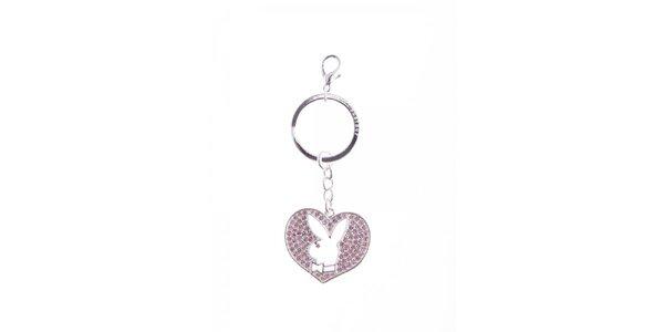 Dámský růžový přívesek na klíče ve tvaru srdce Playboy