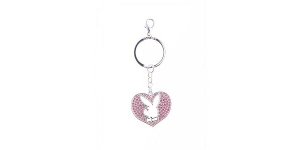 Dámský přívěsek na klíče ve tvaru srdce s králíkem Playboy