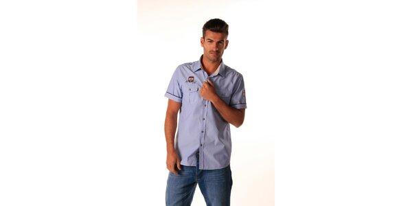 Pánská modrá košile s nášivkami Celop