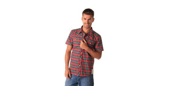 Pánská károvaná zeleno-červená košile Celop