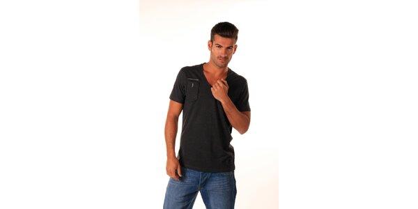Pánské šedočerné tričko s kapsičkou Celop