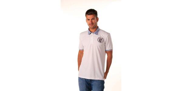 Pánské bílé polo tričko s modrým pruhovaným límečkem Celop