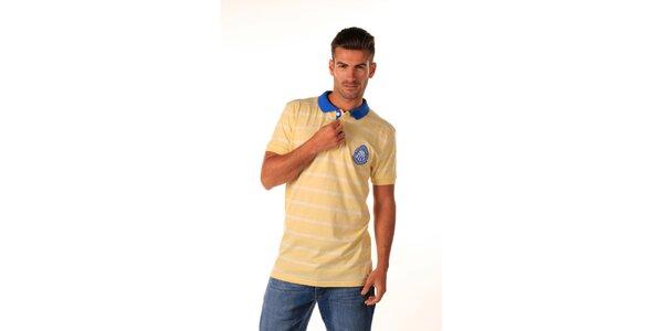 Pánské žluté polo tričko s modrým límečkem Celop