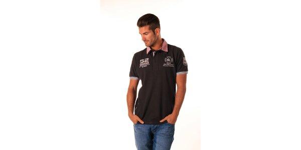 Pánské černé polo tričko s červeným límečkem Celop