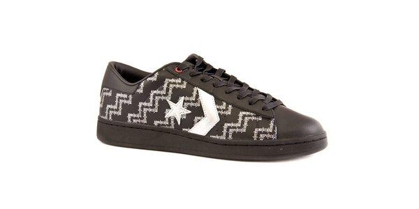 Pánské černé kožené tenisky Converse s bílým potiskem