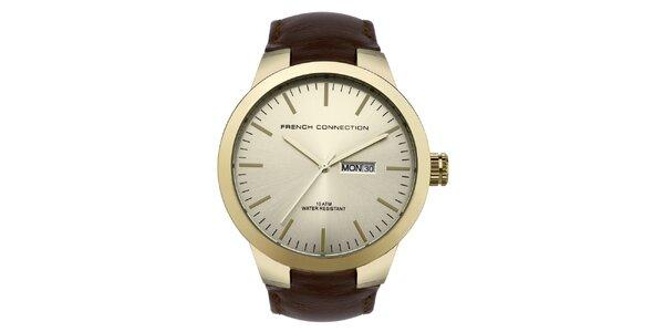 Pánské zlato-hnědé analogové hodinky French Connection
