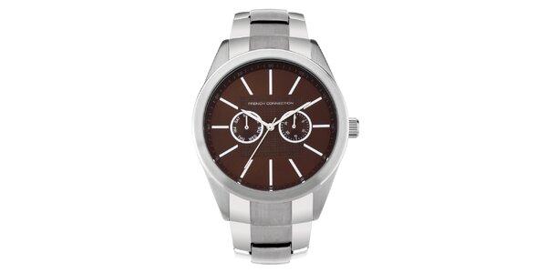 Pánské stříbrno-hnědé analogové hodinky French Connection