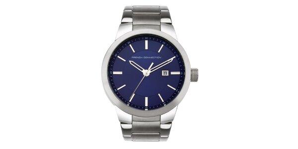Pánské stříbrno-modré analogové hodinky French Connection