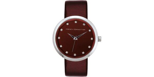 Dámské vínové analogové hodinky French Connection s krystaly