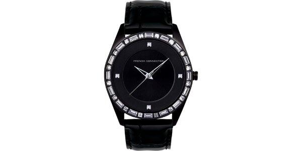 Dámské černé analogové hodinky French Connection s krystaly