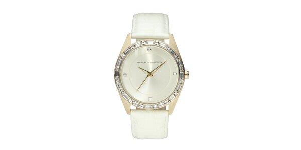Dámské zlato-bílé analogové hodinky French Connection s krystaly