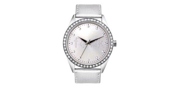 Dámské stříbrné analogové hodinky French Connection s krystaly