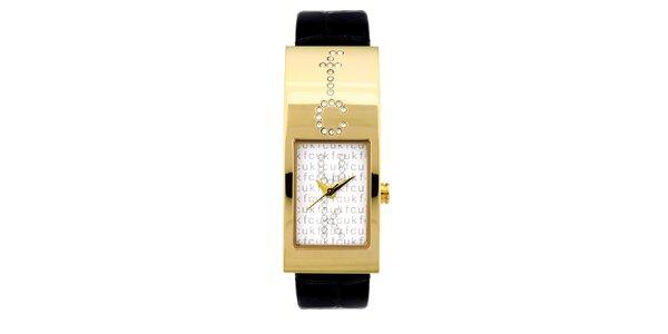Dámské zlato-černé analogové hodinky s originálním ciferníkem French Connection