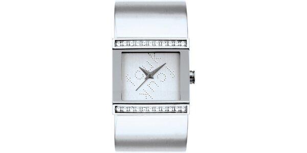 Dámské stříbrné analogové hodinky s krystaly French Connection