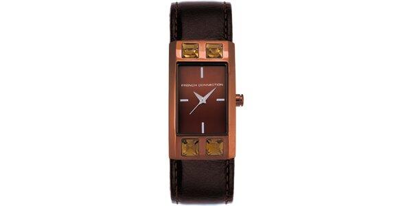 Dámské hnědo-karamelové analogové hodinky French Connection
