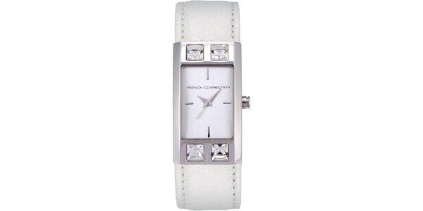 Dámské bílé analogové hodinky s krystaly French Connection
