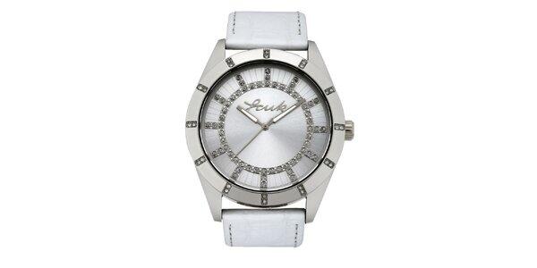 Dámské stříbrno-bílé analogové hodinky French Connection