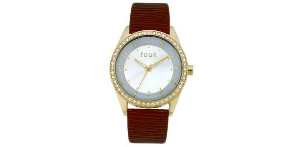 Dámské cihlovo-zlaté analogové hodinky french Connection