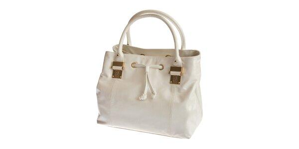 Dámská bílá kabelka Roccobarocco s mašlí a zlatými detaily
