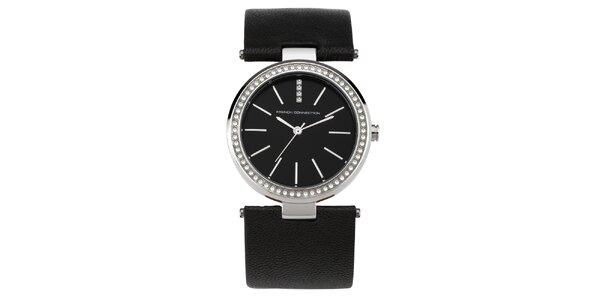 Dámské kulaté černostříbrné hodinky s krystalky French Connection