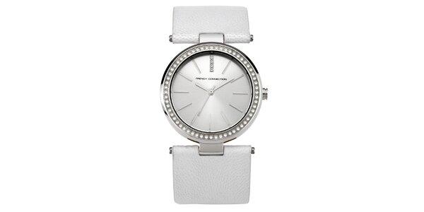 Dámské kulaté stříbrné hodinky s krystalky French Connection
