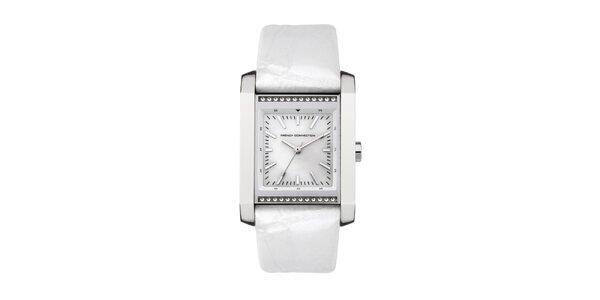 Dámské obdélníkové hodinky French Connection s bílým řemínkem