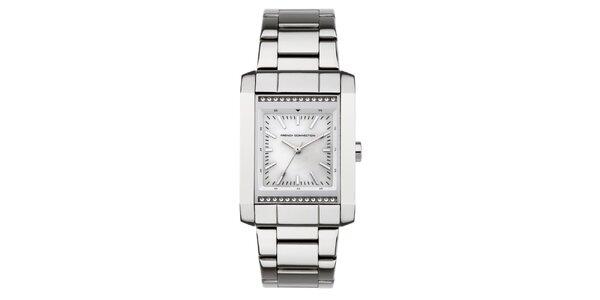 Dámské stříbrné obdélníkové hodinky French Connection