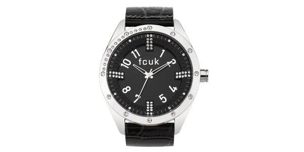Dámské černo-stříbrné analogové hodinky zdobené krystaly French Connection
