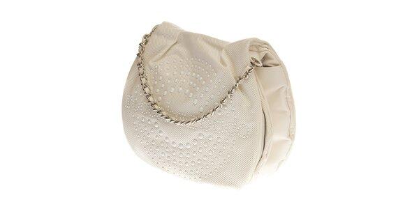 Dámská bílá kabelka Roccobarocco s perforací a řetízkovým uchem