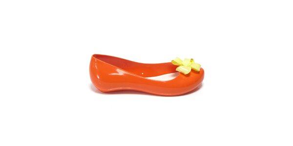 Dívčí oranžové balerínky se žlutou květinou Favolla