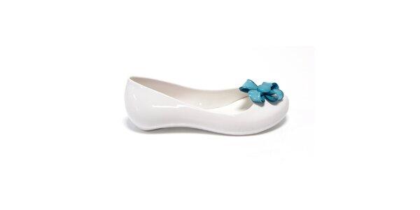 Dívčí bílé balerínky s modrou květinou Favolla