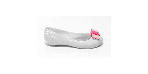Dívčí bílé balerínky s růžovou mašlí Favolla