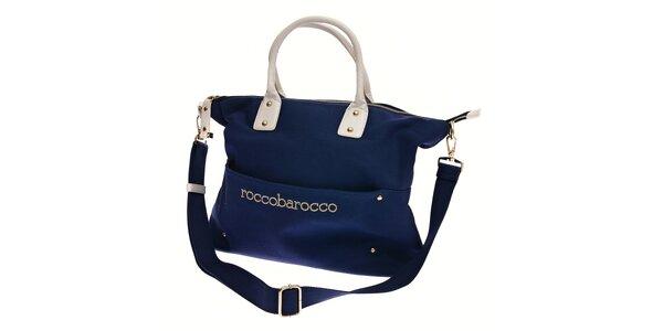 Dámská tmavě modrá textilní kabelka Roccobarocco