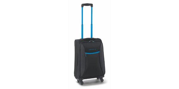 Černo-tyrkysový malý kufr na kolečkách Esprit