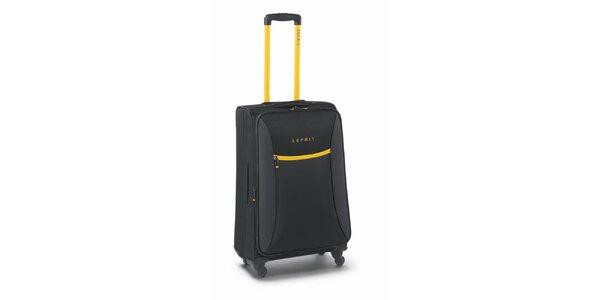 Černo-žlutý středně velký kufr na kolečkách Esprit