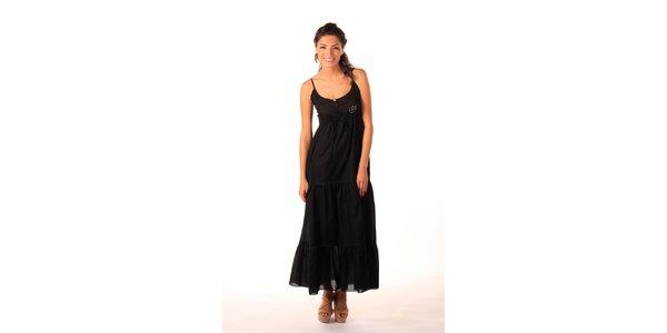 Dámské černé dlouhé šaty s volány Caniche