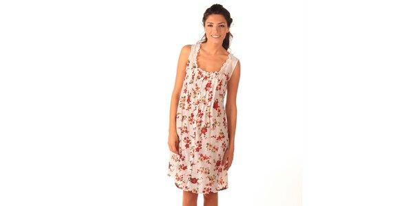 Dámské bílo-červené šaty bez rukávů Caniche